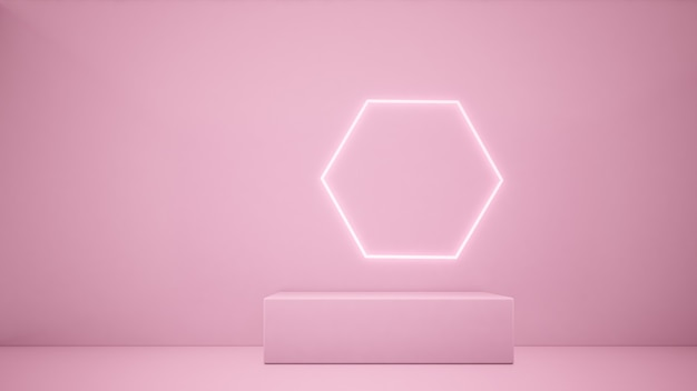 Rendering 3d podio rosa e linea di illuminazione sfondo rosaconcetto minimalista
