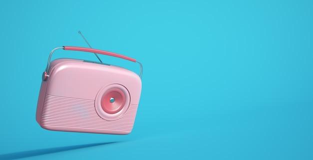 Rendering 3d di una radio rosa su sfondo blu
