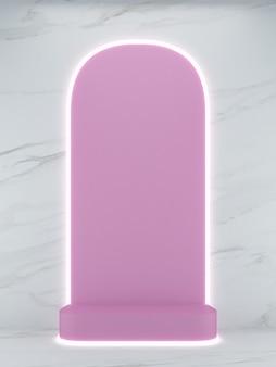 3d che rende il podio di forma quadrata rosa su sfondo di marmo bianco e linea di luce