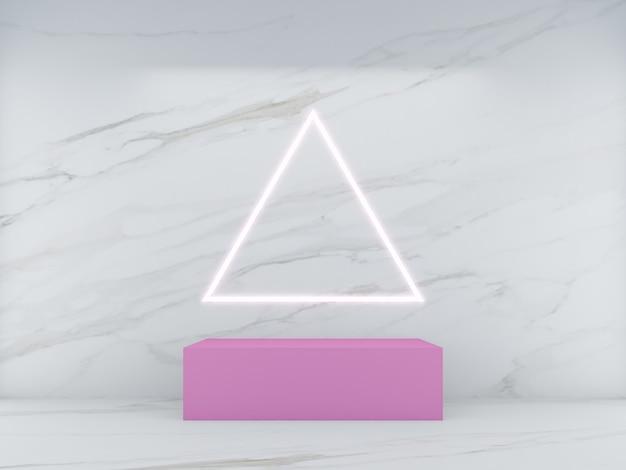 3d che rende il podio di forma quadrata rosa su sfondo di marmo bianco e linea di luce triangolare