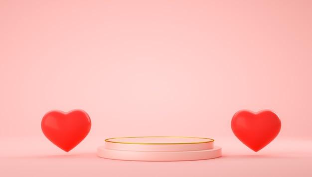 Rendering 3d di stand rosa con cuori per il giorno di san valentino
