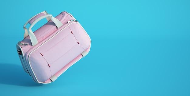 Rendering 3d di un vanity case rosa su sfondo blu