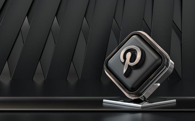 Rendering 3d pinterest icona social media banner sfondo astratto scuro