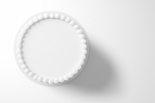Rendering 3d di una semplice torta di compleanno bianca