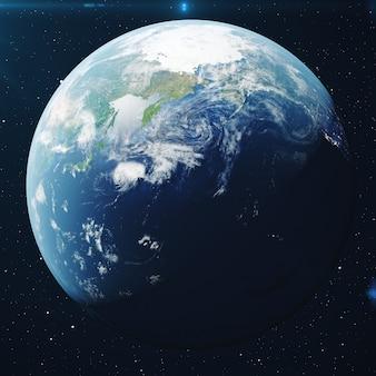 Rendering 3d pianeta terra dallo spazio di notte. il globo terrestre dallo spazio in un campo stellare che mostra il terreno e le nuvole elementi di questa immagine fornita dalla nasa.