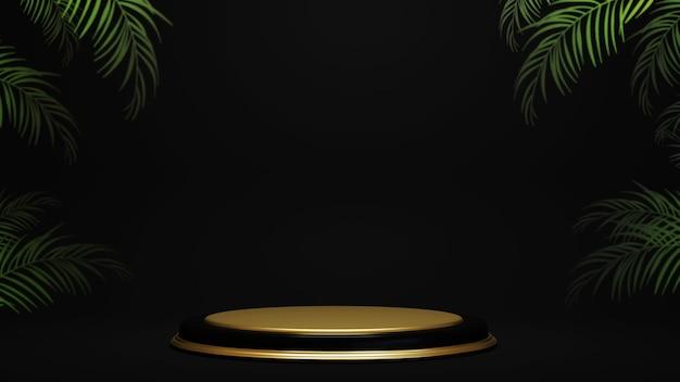 Rappresentazione 3d del podio sul modello minimalista di lusso del fondo nero.