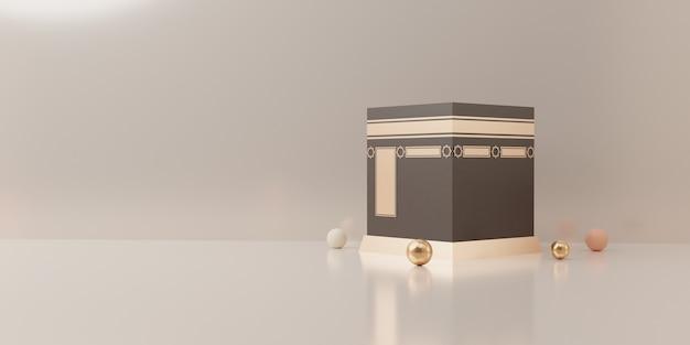 Visualizzazione del podio della rappresentazione 3d del concetto di vendita di eid mubarak del prodotto