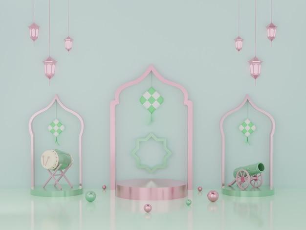 Visualizzazione del podio della rappresentazione 3d del prodotto ramadan e eid mubarak
