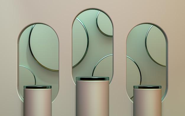 Il podio di rendering 3d mostra lo sfondo di presentazione del prodotto dall'aspetto realistico