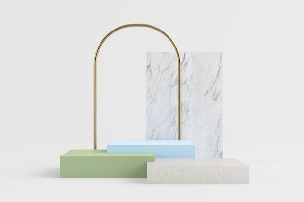 Podio di rendering 3d in granito, blu e verde con arco d'oro, backgorund in marmo