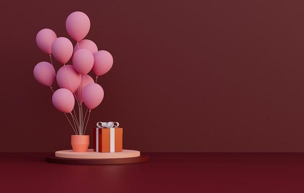 Rendering 3d. podio o supporto per prodotti con palloncino rosa e confezione regalo su sfondo rosso