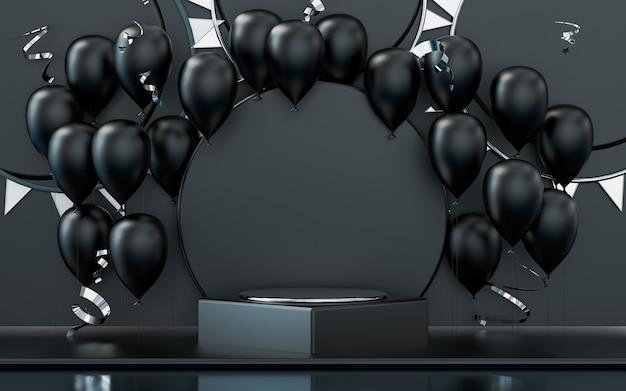 Palcoscenico del podio di rendering 3d con sfondo di celebrazione di palloncini e coriandoli scuri