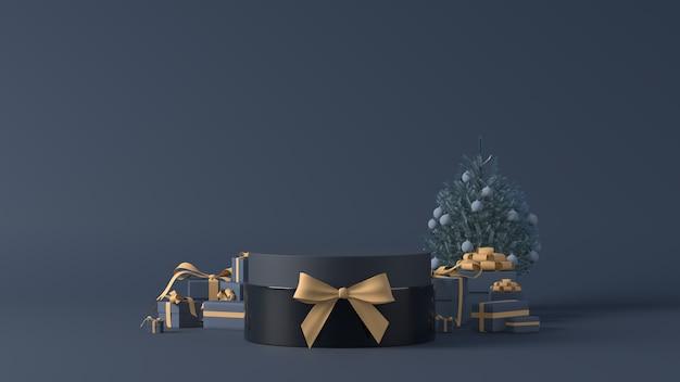 Rendering 3d di un podio con regali di natale