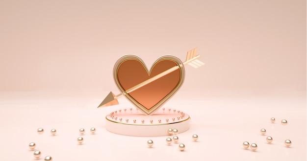 Rendering 3d del podio con l'icona di amore per la visualizzazione del prodotto