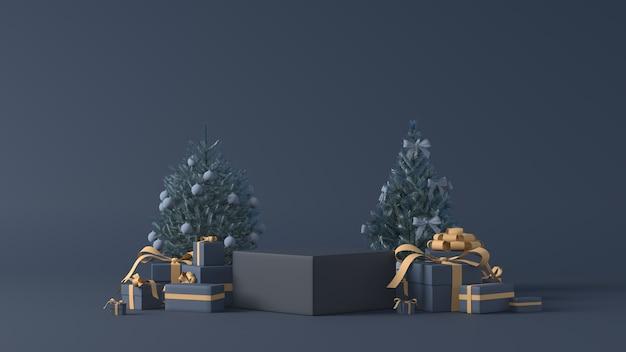 Rendering 3d di podi con regali di natale