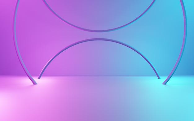 Rendering 3d del display del prodotto pubblicitario con sfondo geometrico astratto viola e blu