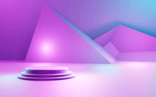 Rendering 3d di sfondo geometrico astratto viola e blu pubblicità display del prodotto