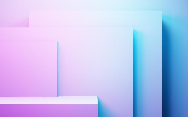 Rendering 3d di sfondo geometrico astratto viola e blu concetto cyberpunk pubblicità