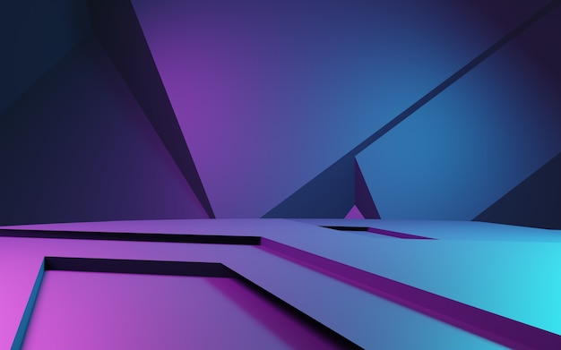 Rendering 3d di sfondo geometrico astratto viola e blu pubblicità del concetto di cyberpunk