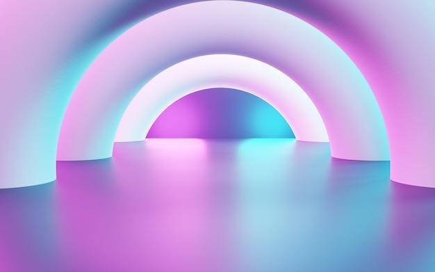 Rendering 3d di sfondo geometrico astratto viola e blu uso del concetto cyberpunk per la pubblicità
