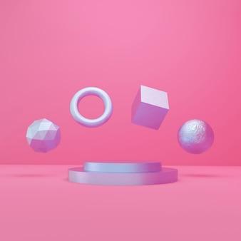 3d che rende podio ed oggetti porpora, stile minimo su fondo rosa
