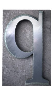 Rendering 3d di una lettera q in stampa dattiloscritta metallica