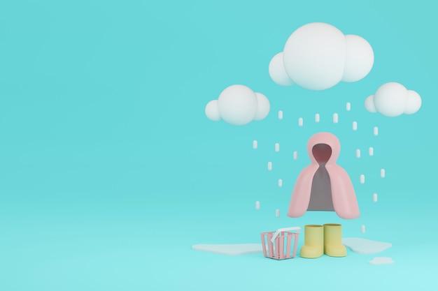 3d rendering cappotto di pioggia stivali da pioggia con ombrello e cestini sotto la pioggia sullo sfondo con spazio per il testo per il design commerciale. rendering 3d. illustrazione 3d.