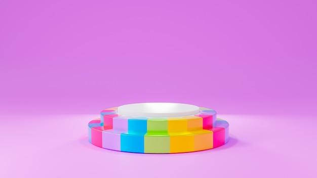 Fase del prodotto arcobaleno di rendering 3d su sfondo rosa