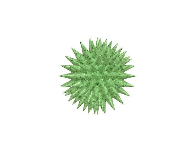 Rendering 3d di un virus verde realistico al microscopio, batterio di infezione da coronavirus 2019-ncov