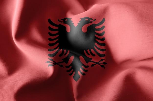 3d che rende realistica la bandiera di seta d'ondeggiamento dell'albania