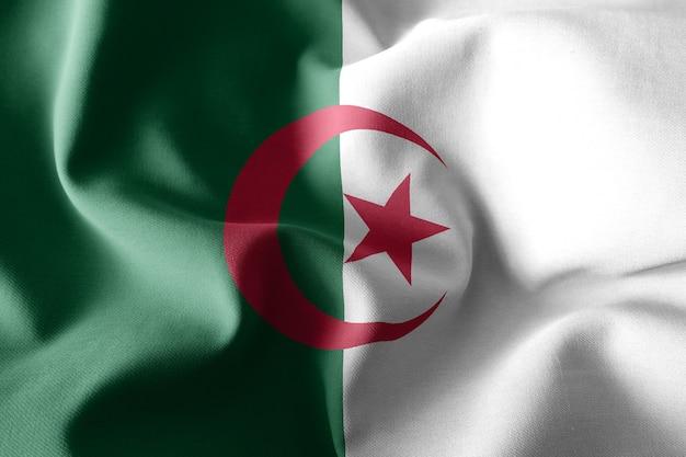 3d che rende realistica la bandiera di seta sventolante dell'algeria