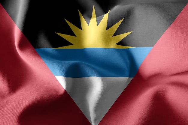 3d che rende realistica la bandiera di seta d'ondeggiamento di antigua e barbuda