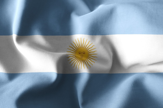 3d che rende realistica la bandiera di seta sventolante dell'argentina