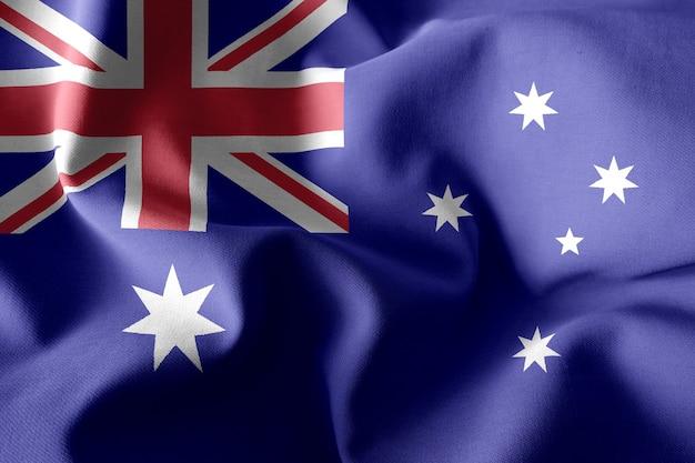 3d che rende realistica la bandiera di seta sventolante dell'australia