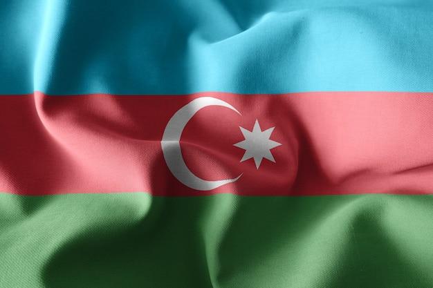 3d rendering realistico sventola bandiera di seta dell'azerbaigian