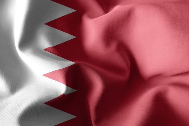 3d che rende realistica la bandiera di seta sventolante del bahrain