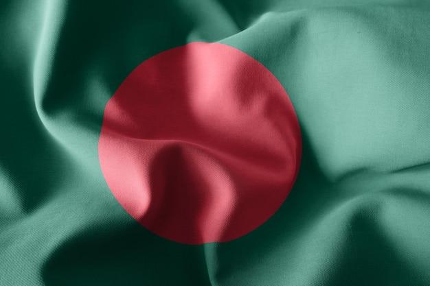 3d che rende realistica la bandiera di seta d'ondeggiamento del bangladesh