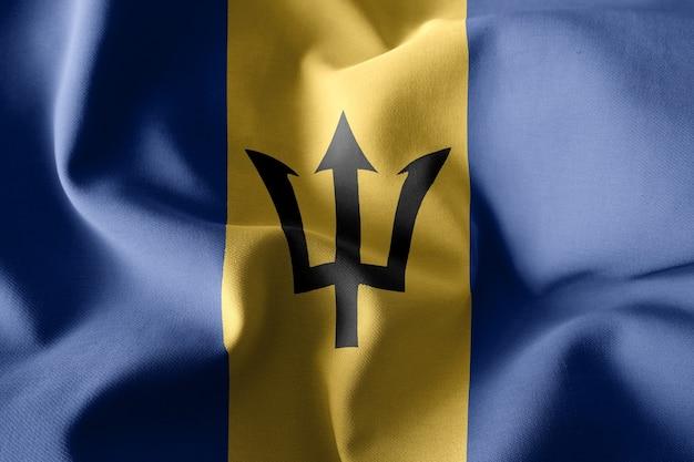 3d che rende realistica la bandiera di seta sventolante delle barbados