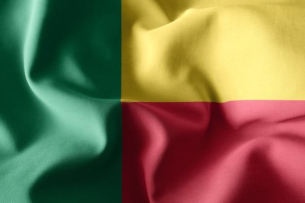 3d che rende realistica la bandiera di seta sventolante del benin