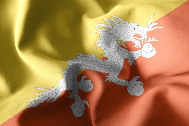 3d che rende realistica la bandiera di seta sventolante del bhutan