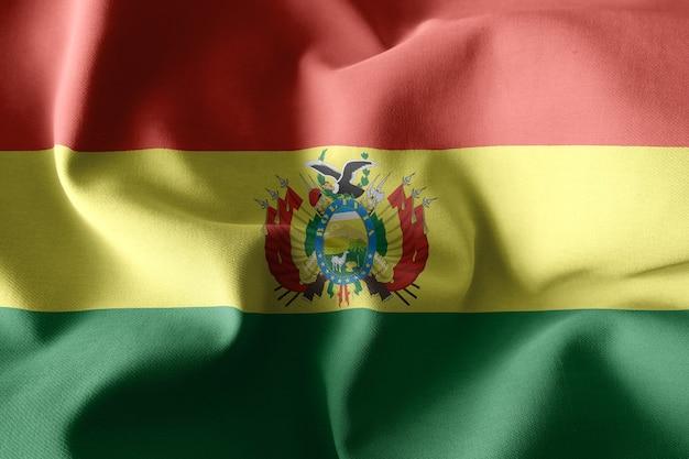 3d rendering realistico sventolando la bandiera di seta della bolivia