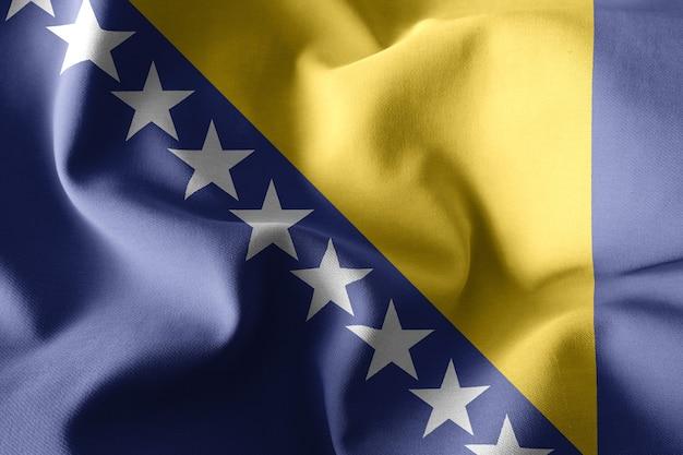 3d rendering realistico sventola bandiera di seta della bosnia