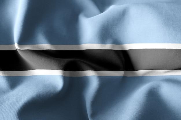 3d che rende realistica la bandiera di seta sventolante del botswana