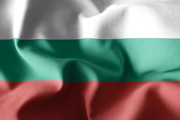 3d rendering realistico sventola bandiera di seta della bulgaria