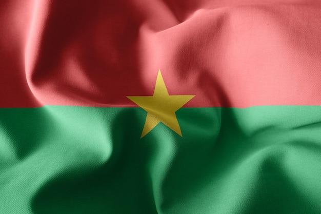 3d che rende realistica la bandiera di seta sventolante del burkina faso