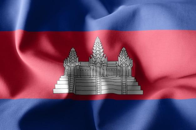 3d che rende realistica la bandiera di seta d'ondeggiamento della cambogia