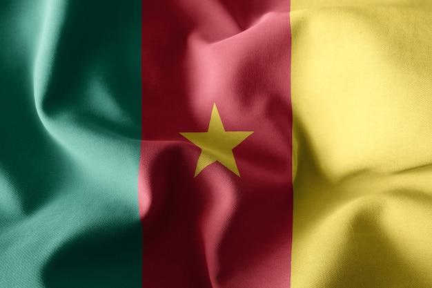 3d che rende realistica la bandiera di seta sventolante del camerun