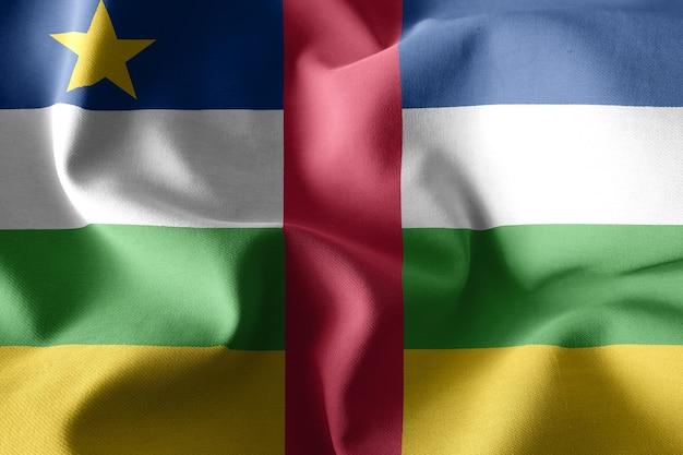 3d che rende realistica la bandiera di seta sventolante della repubblica centrafricana