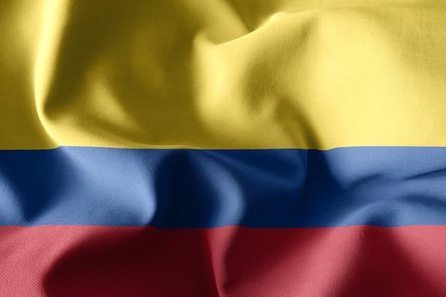 3d rendering realistico sventolando la bandiera di seta della colombia