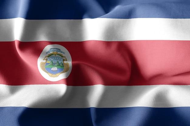 3d che rende realistica la bandiera di seta d'ondeggiamento del costa rica